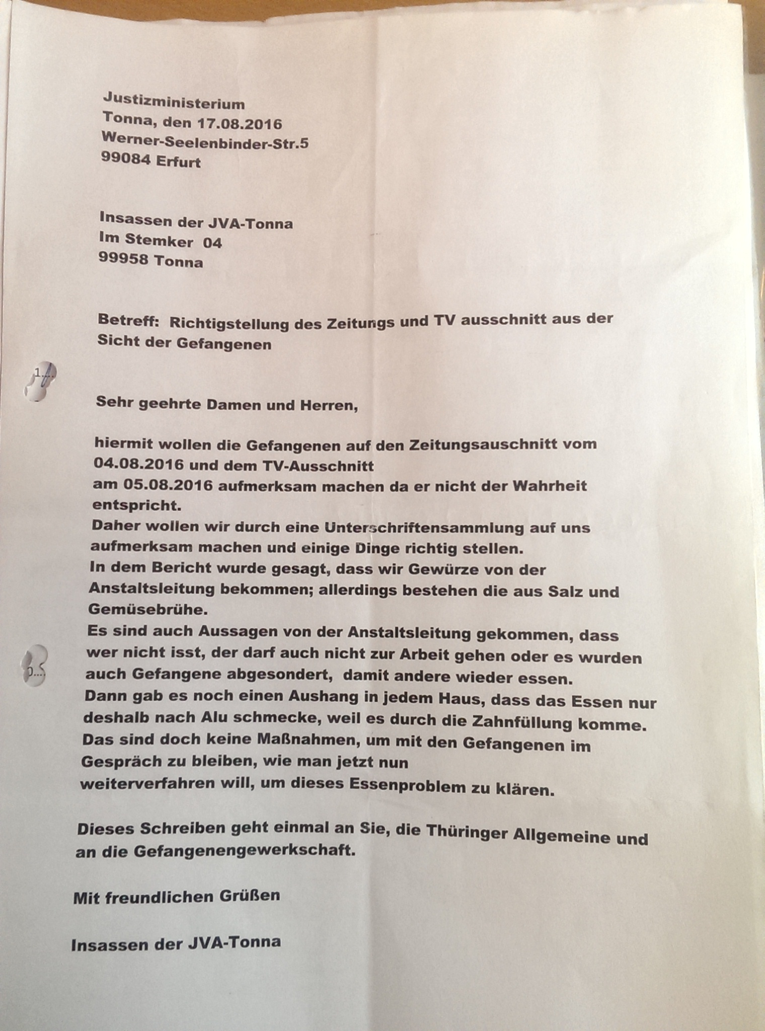 Offener Brief Tonna